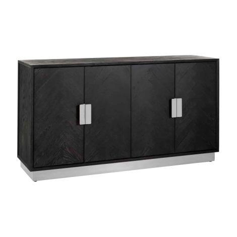 Bahut Bony 160cm 4 portes - noir/argent