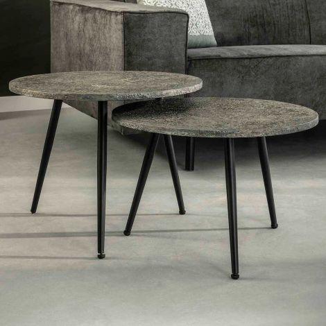 Set de 2 tables basses Lima Ø55 industriel - gris