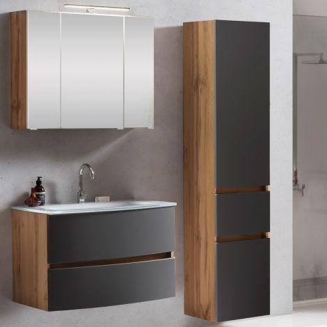 Ensemble salle de bains Kornel 5 à 3 pièces avec vasque blanche - chêne/gris mat