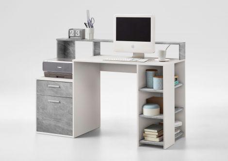 Bureau Elton 139cm - béton/blanc