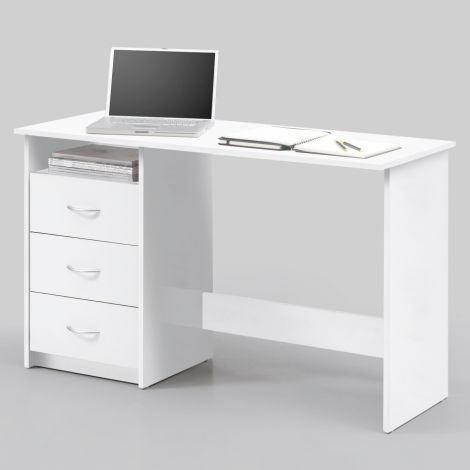 Bureau Adriano 123cm avec 3 tiroirs - blanc