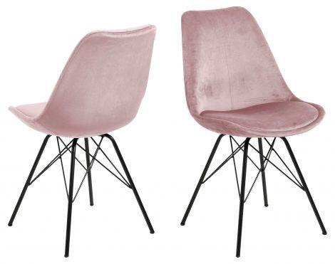 Set de 2 chaises coquilles Irma en velours - vieux rose/noir