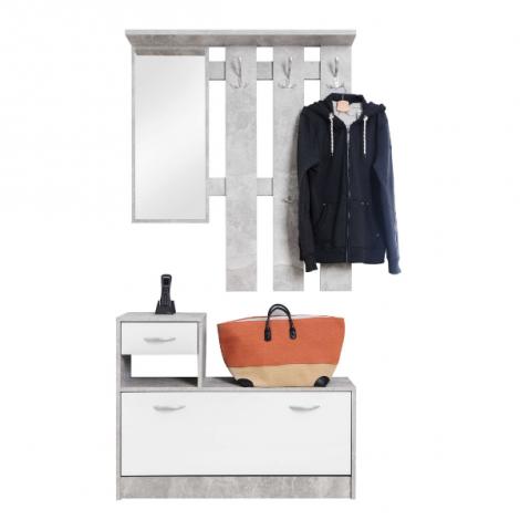 Vestiaire Rudolf - béton/blanc