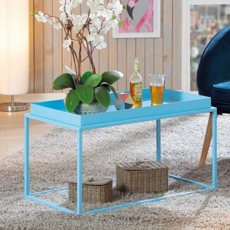Table basse Club 80x45 métal - bleu