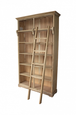 Bibliothèque avec escalier - naturel - teck