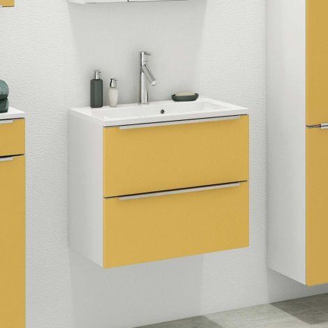 Meuble lavabo Hansen L60xP48cm avec 2 tiroirs - jaune/blanc