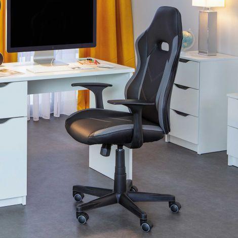 Chaise de bureau My Homi - noir/gris