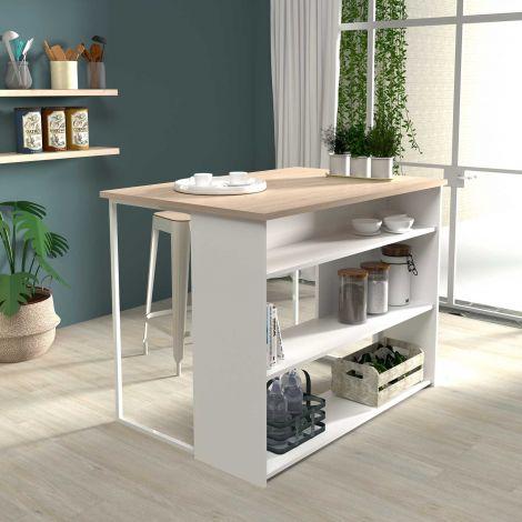 Table bar & ilôt de cuisine Slam 116cm - blanc/chêne