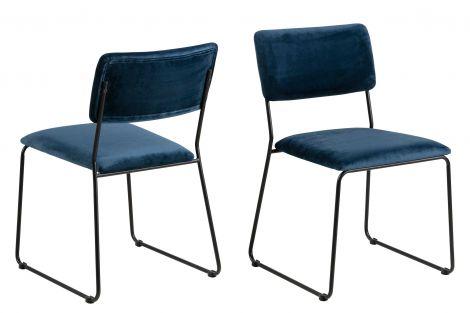 Set de 2 chaises en velours Nelly - marine/noir