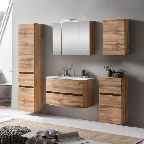 Ensemble de salle de bains Kornel 13 à 5 pièces avec vasque blanche - chêne