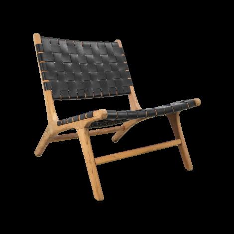 Chaise longue Barda - cuir/teck - noir