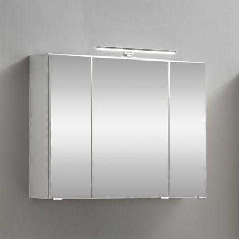 Armoire de toilette Kornel 80cm 3 portes & éclairage LED - blanc