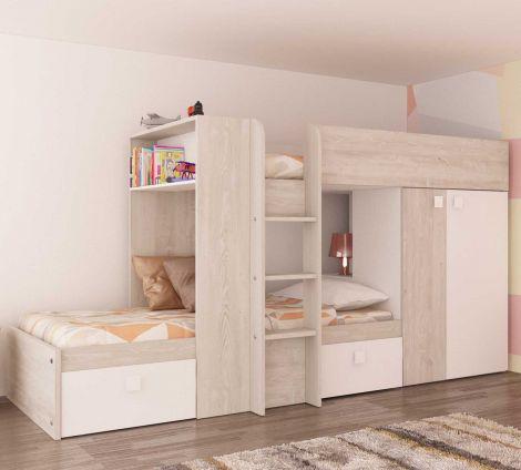 Lit superposé Beau avec armoire & tiroirs - pin/blanc