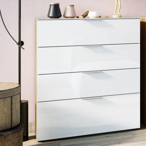 Chiffonnier Dudek 83cm avec 4 tiroirs - blanc/chêne