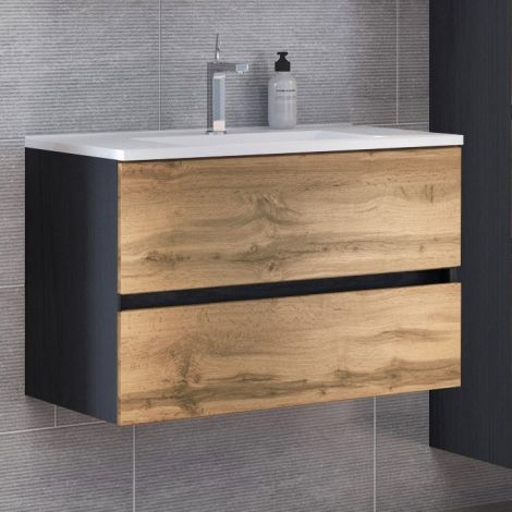Meuble vasque Luna 100cm 2 tiroirs - graphite/chêne