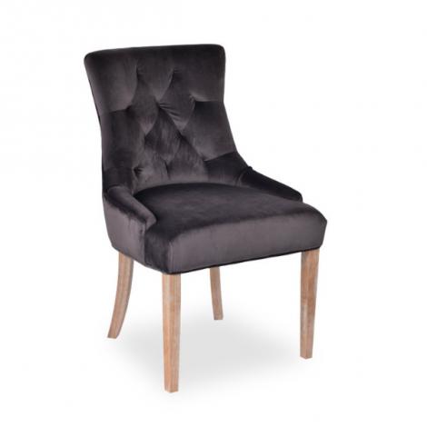Lot de 2 chaises Christa en velours  - gris/pieds en bois