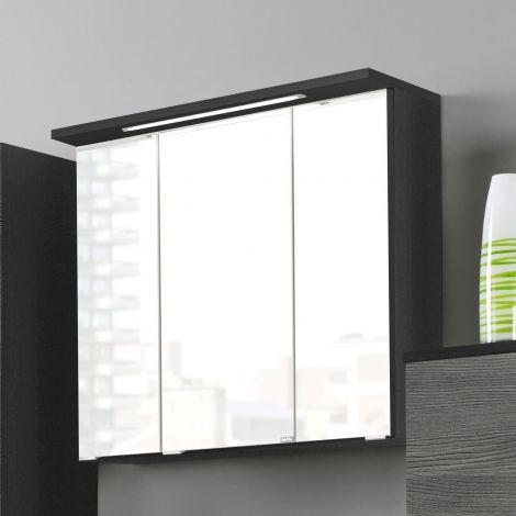 Armoire de toilette Bobbi 60cm modèle 1 3 portes & eclairage LED - graphite