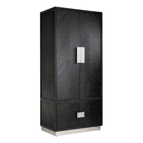Armoire à vêtements Bony 100cm 2 portes & 2 tiroirs - noir/argent