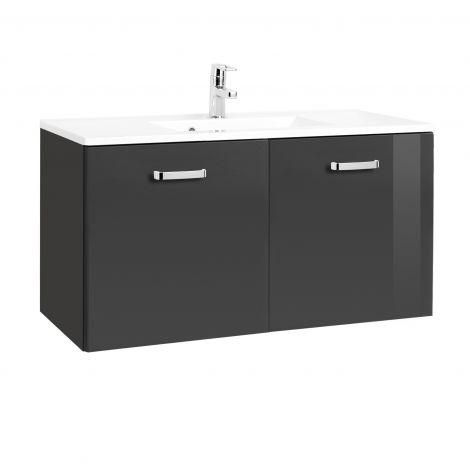 Meuble vasque Bobbi 100cm avec 2 portes et vasque céramique - graphite/gris brillant
