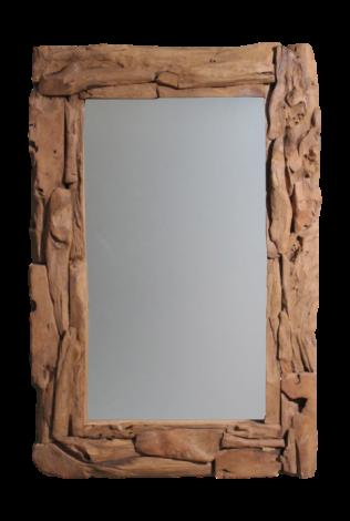 Miroir mural Racine - 120x80 cm - teck racine bois