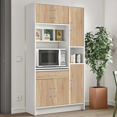 Armoire de cuisine Louise pour four à micro-ondes - blanc/chêne