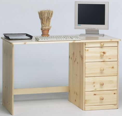 Bureau Kristian avec 5 tiroirs - naturel