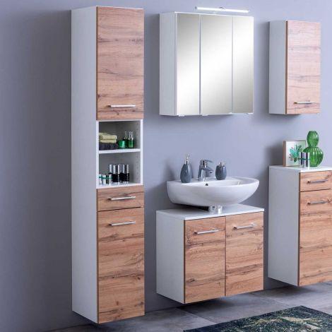 Colonne Pares 30cm 2 portes & 1 tiroir - blanc/chêne wotan