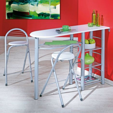 Table de bar Frida 117x40 avec rangements & 2 tabourets - blanc