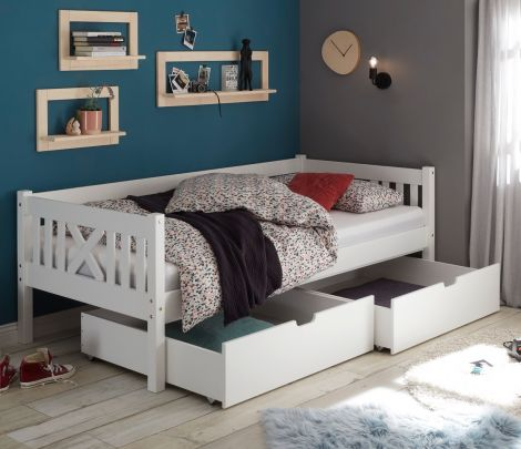 Ensemble de 2 tiroirs de lit Trever/Leona - blanc