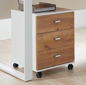 Caisson à tiroirs Lloris 3 tiroirs - blanc/chêne