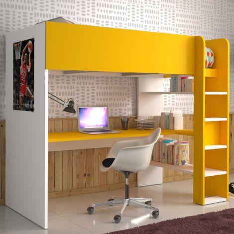 Lit mezzanine Beau avec bureau - blanc/jaune
