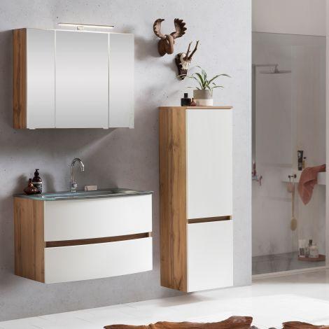 Ensemble salle de bains Kornel 4 à 3 pièces avec vasque grise - chêne/blanc mat