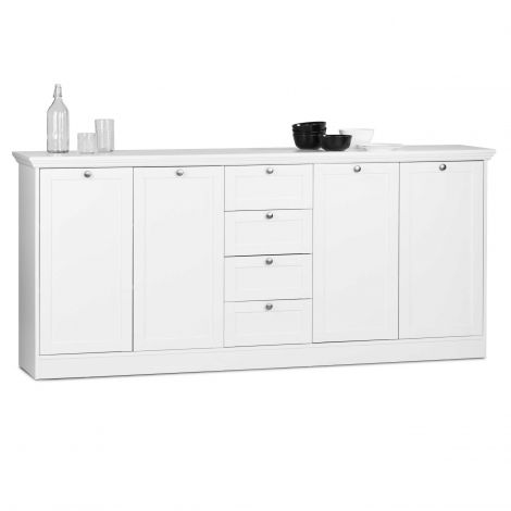 Bahut Landwood 200cm 4 portes & tiroirs - blanc