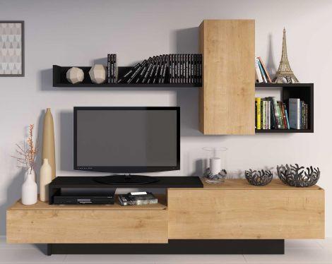 Meuble tv Cosmit 240cm - chêne/anthracite