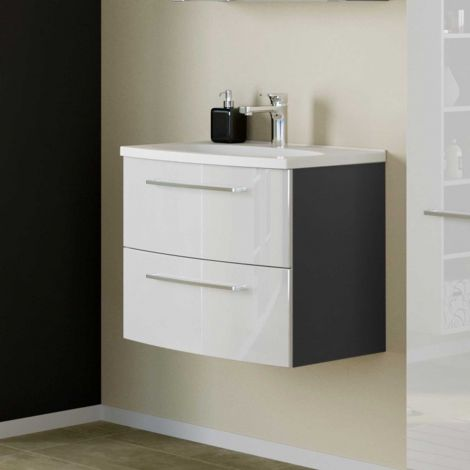 Meuble lavabo Gene 60cm 2 tiroirs - gris graphite/blanc brillant