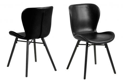 Set de 2 chaises en similicuir Tilda avec pieds obliques - noir