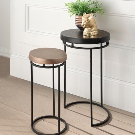 Lot de 2 tables d'appoint Camila - noir/or métal