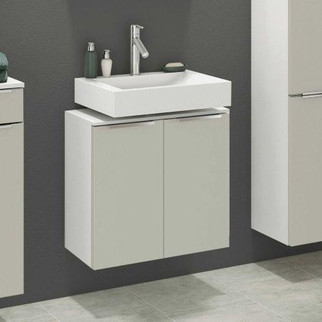 Meuble sous lavabo Hansen 60cm 2 portes - gris/blanc