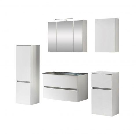 Ensemble de salle de bains Kornel 12 à 5 pièces avec vasque grise - blanc