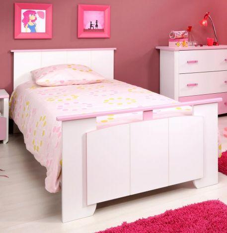 Lit enfant Beauty fille 90x200 cm - rose/blanc