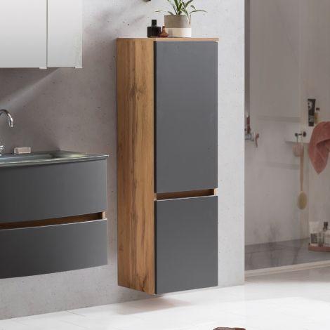 Colonne Kornel/Luna 40cm 2 portes - chêne/gris mat