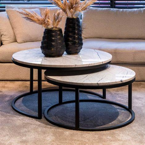 Lot de 2 tables basses Lexington - blanc/noir
