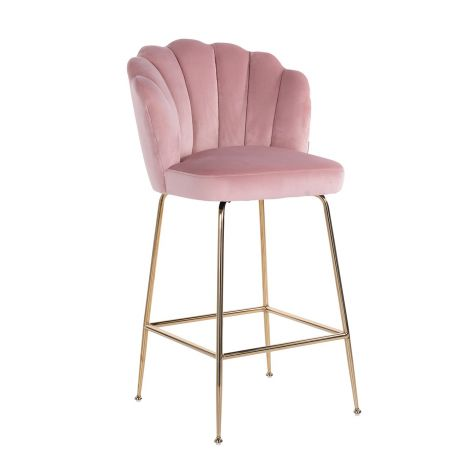 Tabouret Chiesa velours - rose/or