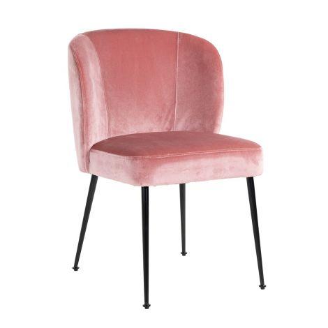 Chaise de salle à manger Fallon velours - rose
