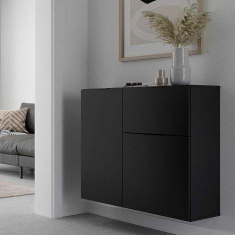 Commode Damien 90cm 2 portes & 1 tiroir - noir