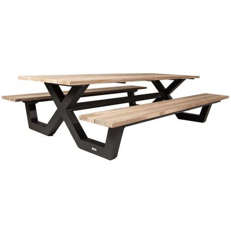 Table de pique-nique Biabou 220x218 - noir/gris