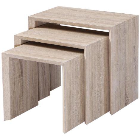 3 tables basses gigognes Joker - sonoma clair