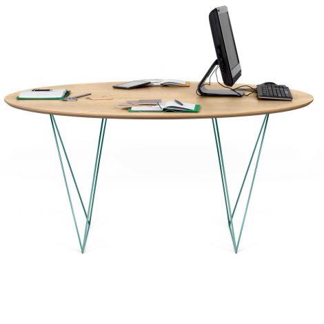 Table à manger Row Ø150 - chêne/vert