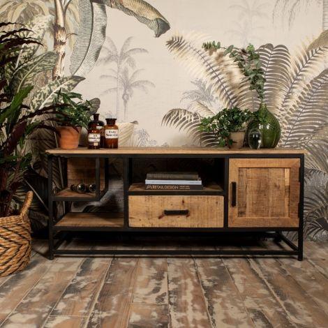 Meuble tv Romie 130cm - bois de manguier/fer