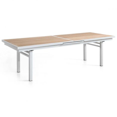 Table de jardin extensible 280/340 - blanc/teck